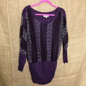 Lulumari M Purple Top Modest Textured Layers